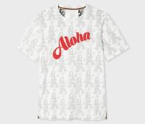 Slim-Fit White 'Aloha' Print Cotton T-Shirt
