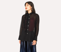 Black Wool-Blend Shirt With Frill Detail