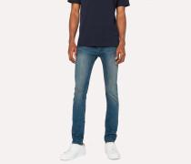 Slim-Fit Antique-Wash Stretch-Denim Jeans