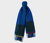 Cobalt Blue And Khaki Asymmetrical Check Wool Scarf