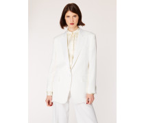 Ivory One-Button Wool Boyfriend-Fit Tuxedo Blazer