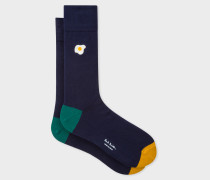Navy Socks With 'Fried Egg' Embroidery