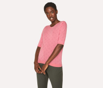 Pink Merino Wool And Silk-Blend Knitted T-Shirt