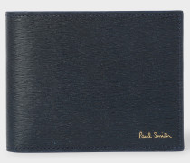Navy Saffiano Leather Money Clip Wallet