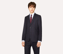 Tailored-Fit Navy And Red Check Wool Blazer