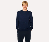 Navy Merino Wool Embroidered-Spot Sweater