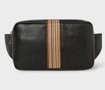 Black Signature Stripe Leather Bum Bag