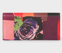 'Rose Collage' Print Leather Tri-Fold Purse