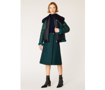 Dark Green Houndstooth Check Wrap Midi Skirt With Patch Pocket
