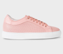 Pink Perforated Leather 'Basso' Trainers