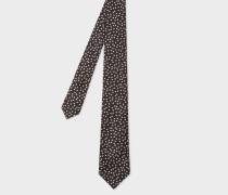 Black 'Star' Motif Narrow Silk Tie