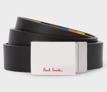 Black And 'Bright Stripe' Leather Reversible Cut-To-Fit Belt