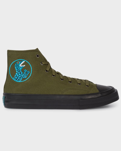 Khaki Canvas 'Kirk' Trainers With 'Dino' Embroidery