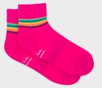 Fuchsia 'Artist Stripe' Trim Cycling Socks