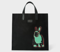 'Artful Lives' Patch Black Canvas Tote Bag