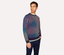 Navy Rainbow Check Cotton-Blend Sweater