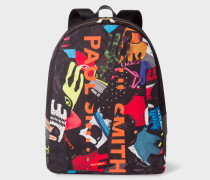 'Cycle Gloves' Print Canvas Backpack