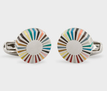 Multi-Coloured Stripe Edge Circular Cufflinks