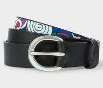 Black Calf Leather Belt With 'Karami' Appliqué