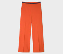 Rust Wool-Blend Wide Leg Trousers With Contrast Waistband
