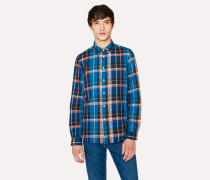 Tailored-Fit Blue Check Cotton Button-Down Shirt
