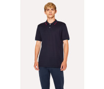 Dark Navy Polo Shirt With Coloured Tipping