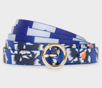 Navy 'Hawaiian Floral' Stripe Leather Waist Belt