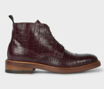 Burgundy Mock-Croc Leather 'Jarman' Boots