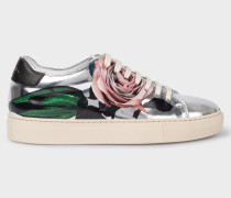 Silver 'Rose' Print Leather 'Basso' Trainers