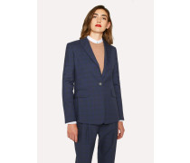 Slim-Fit Blue Tonal Check One-Button Wool Blazer