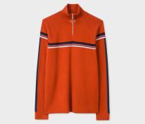 Rust Funnel Neck Wool Half-Zip Sweater