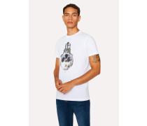 Slim-Fit White 'Skull Bulb' Print Organic-Cotton T-Shirt