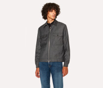 Charcoal Grey Wool-Blend Twill Patch-Pocket Jacket