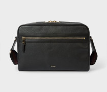 Black Leather 'City Webbing' Cross-Body Bag
