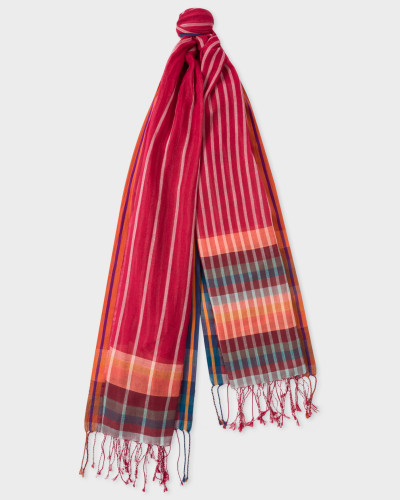 Red Stripe Scarf With 'Artist Stripe' Details