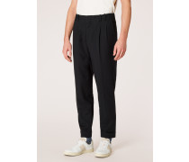 Tapered-Fit Black Double-Pleated Cotton Trousers
