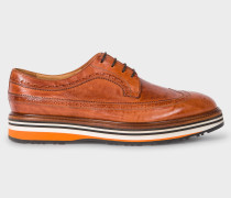 Tan Leather 'Grand' Brogues With Striped Soles
