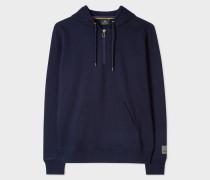 Navy Half-Zip Cotton Hoodie