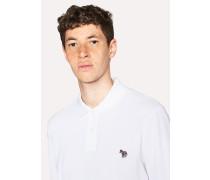 White Organic-Cotton Zebra Logo Long-Sleeve Polo Shirt