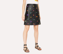 Black Leather Button Down Skirt With 'Kyoto Floral' Embroidery