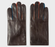 Brown Leather Concertina Gloves