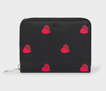 'Heart' Print Small Leather Zip-Around Purse
