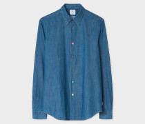 Tailored-Fit Mid-Wash Denim Shirt With Multi-Colour Button Placket