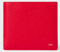 Red Leather Monogrammed Billfold Wallet