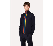 Navy Merino-Wool 'Artist Stripe' Zip-Through Cardigan