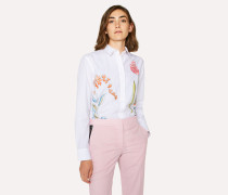White Cotton Shirt With Large Floral Print
