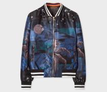 Blue 'Midnight' Jacquard Cotton-Blend Bomber Jacket