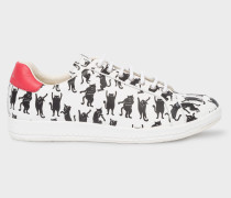 White Leather 'Lapin' Trainers With 'Dancing Cats' Print
