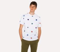 White 'Scribble Dot' Print Cotton T-Shirt