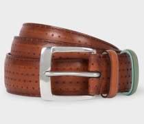 Brown Embossed Dot Burnished Leather Belt